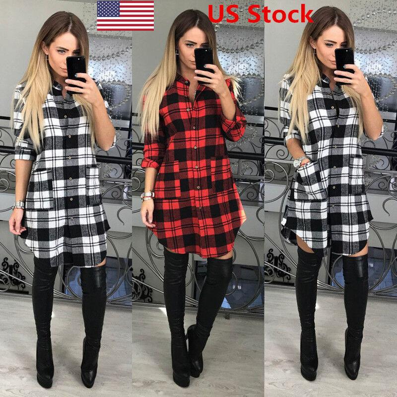 Dress - US Womens Check Shirt Mini Dress Ladies Long Sleeve Plaid Romper Dress Size S-XL