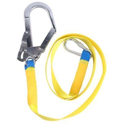 Outdoor Climbing Safety Harness Belt Lanyard + Metal Carabiner Clip 180cm USA