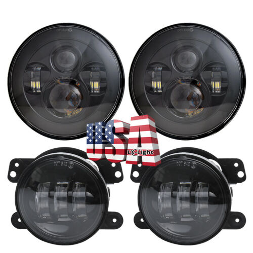 4 Inch Fog Lights Compatible with 2007-2017 Jeep Wrangler JK JKU 97-2006 TJ H6024 Headlamp Replacement Z-OFFROAD 7 Inch LED Headlights