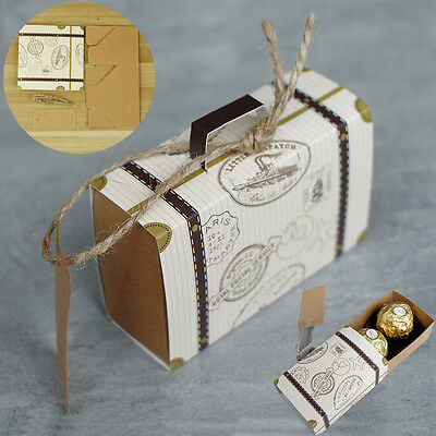 Mini Cake Boxes (10/50/100 Mini Suitcase Sweet Cake Candy bags Wedding Party Favours Boxes)