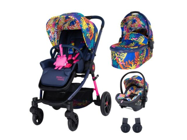 New Cosatto Wowee 3 in 1 Travel system Club Tropicana with car seat from birth