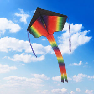 2 Pack Rainbow Delta Kite Easy Flyer Long Tail Kids and Adults