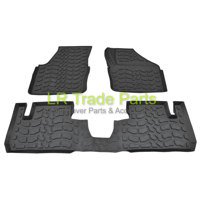 Bearmach Parts Land Rover Defender 90 110 130 Front Black Rubber Floor Mats