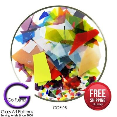 Confetti Glass Shards Mardi Gras Color Mix COE 96 Uroboros Fusing Supply (Mardi Gras Supply)