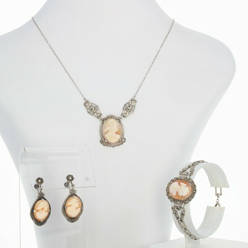Vintage Carved Shell Cameo Jewelry Set - Silver Earrings Necklace Bracelet