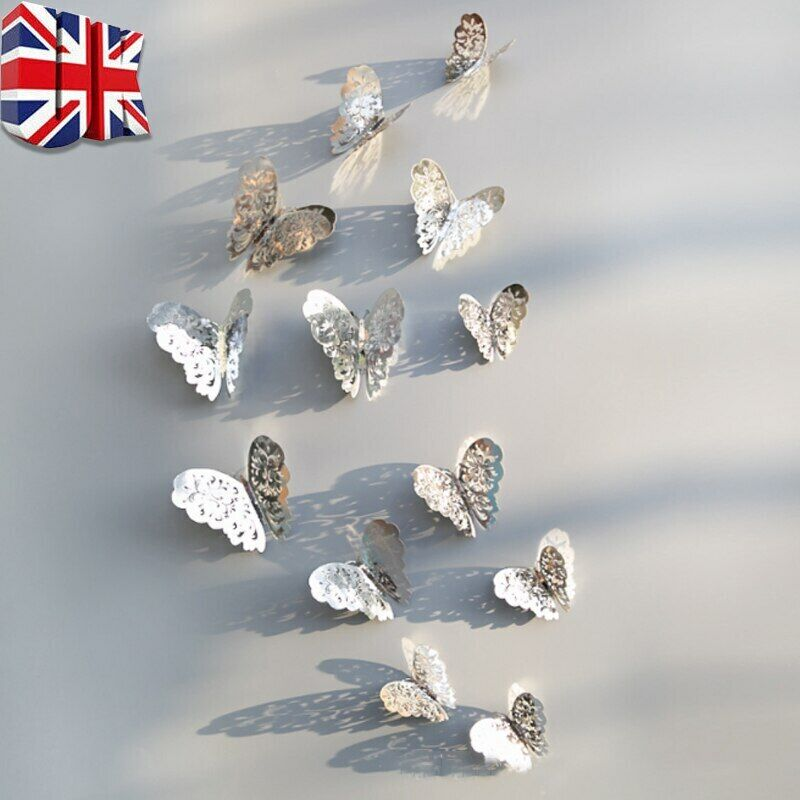 Home Decoration - 12pcs 3D Butterfly Wall Stickers Art Decals Home All Room Decorations Decor Kids
