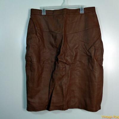 Vtg Sexy Soft Leather Skirt Size 18 Brown