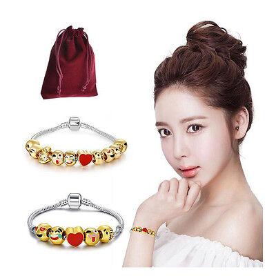 Fashion Emoji Charm Bracelet 18K Yellow Gold Plated Beads 5/10 Charms Christmas - Gold Bracelet Charms