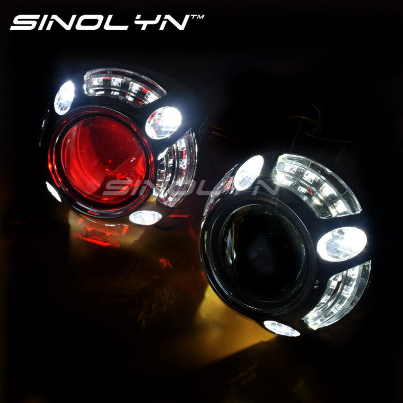 angel eyes car hid projector lens bi xenon retrofit headlight w led devil eyes ebay. Black Bedroom Furniture Sets. Home Design Ideas