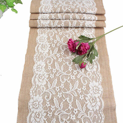White Tablecloth With Burlap Runner (Rustic Burlap Table Runner With Flower Pattern Lace For Party Home Table)