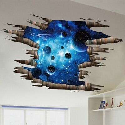 3D Wall Stickers Space Galaxy Planets Wall Mural Photo Wall paper Floor Sticker (3d Planets)