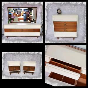 Set commode / miroir / tiroirs 9,4,2 vintage en bois relooké