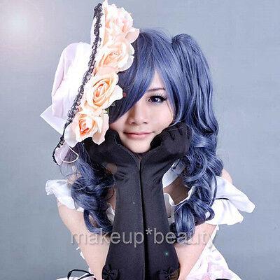 Long 2 Ponytails Wig Black Butler Kuroshitsuji Ciel Phantomhive Girl Cosplay Wig
