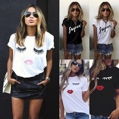 Casual Womens Ladies Fashion Print Summer Loose Tops Short Sleeve Blouse T Shirt