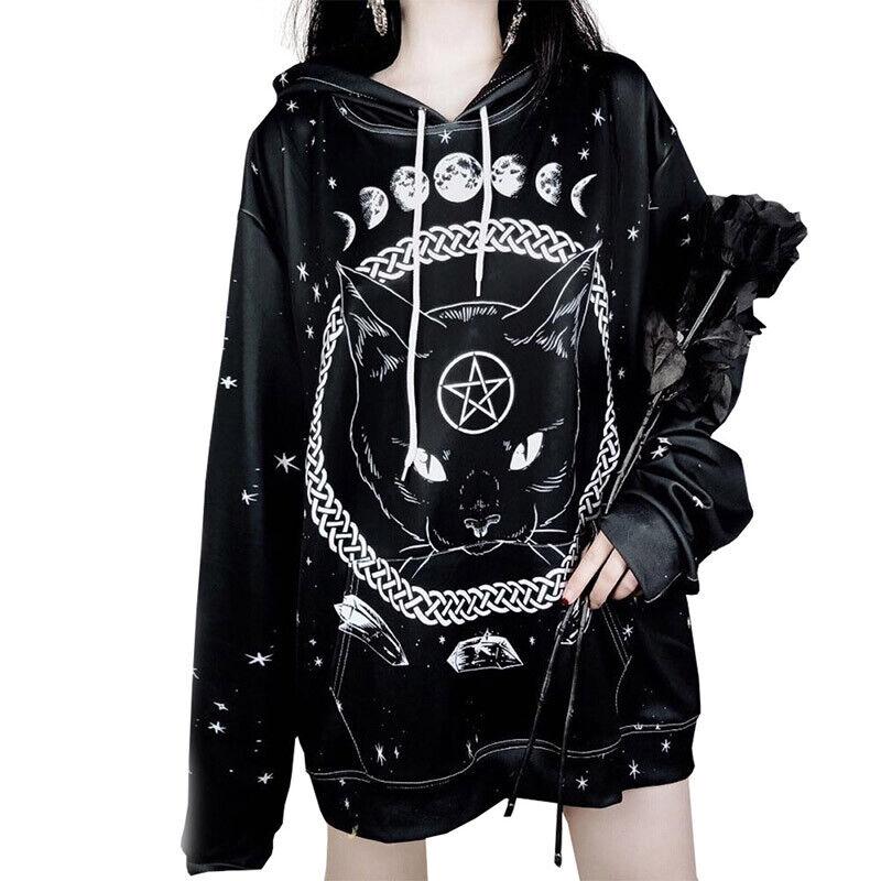 Gothic Pentagram Witchcraft Magic Cat Moon Chain Print Hoodi