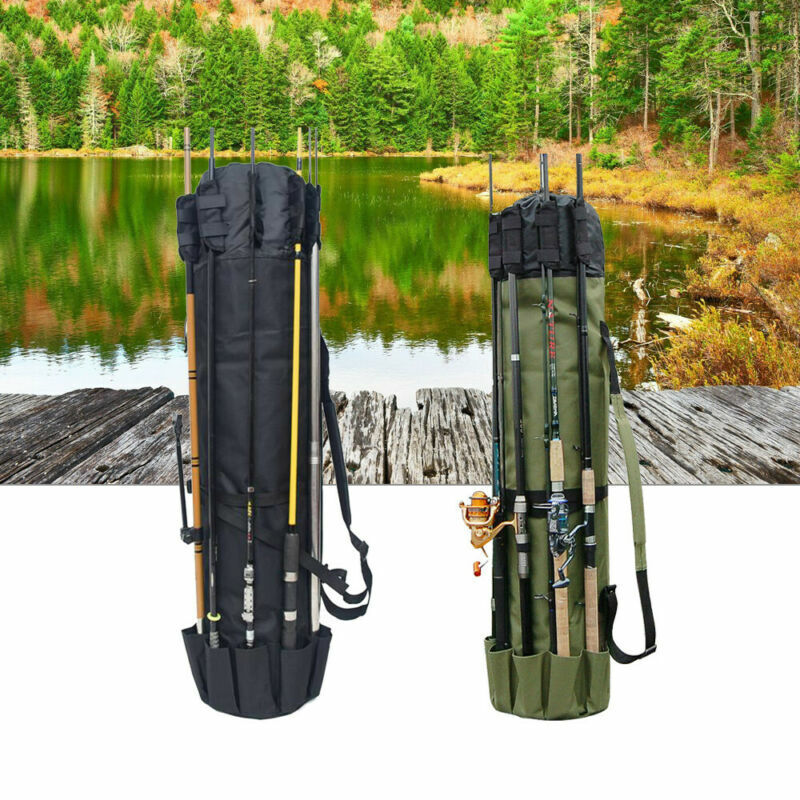 Fishing Pole Storage Bag Backpack Fishing Rod Reel Gear Tackle Organizer Carrier
