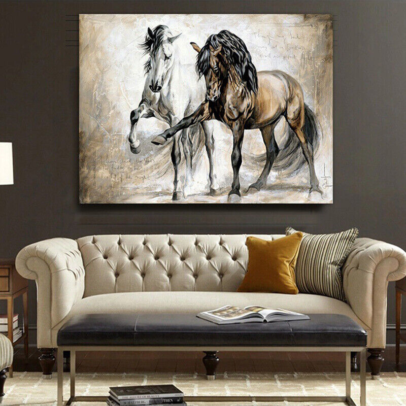 Vintage Horse Abstract Oil Canvas Painting Home Art Poster Decor Hanging Picture
