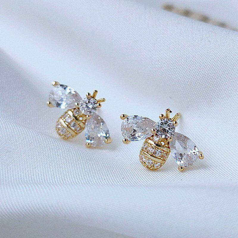 2021 Fashion 925 Silver Women Bee Animal Zircon Earrings Stud Wedding Jewelry