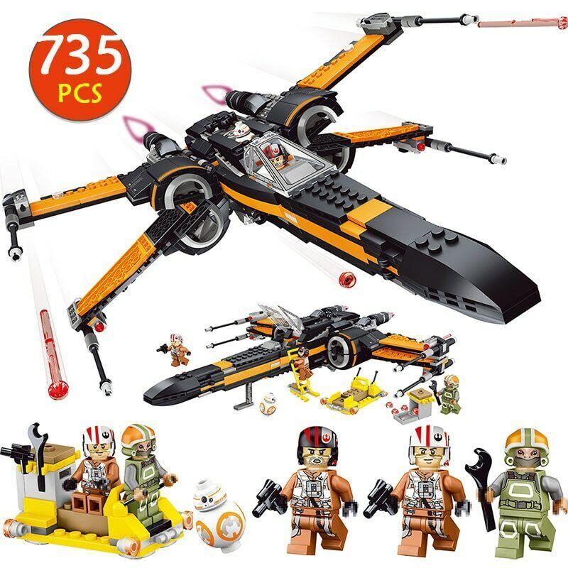 Star Wars Last Jedi Poe's X Wing Fighter building blocks kids children toy gift Building Toys
