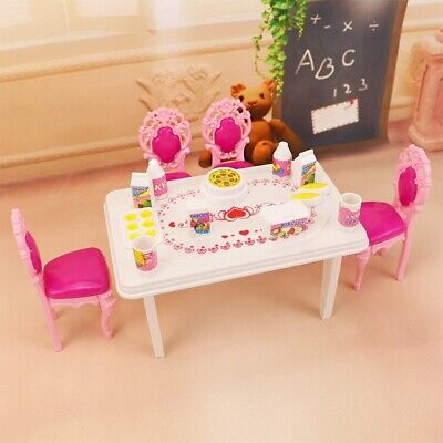 Dinner Table Set For Barbie And Kelly Doll's House Furniture, Doll 17pcs In 1