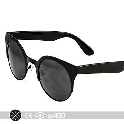 Black Round Metal Frame Cat Eye Classic Classy Sunglasses Glasses S233