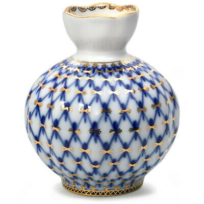 Russian Table Decorations (Cobalt Net White and Blue  FLOWERS VASE by Imperial Porcelain, Table)