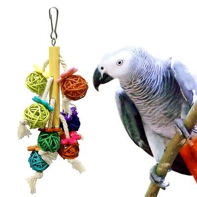 Pet Bird Swing Rattan Ball Toy Parrot Hanging String Chewing Bites Toys 22cm US