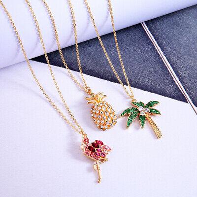 Halskette Modeschmuck rosa Flamingo Pink Crystal Ananas Pineapple Palme Palmen