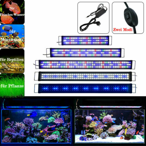 LED Aquarium Beleuchtung 29,5-200cm Aufsetzleuchte Vollspektrum Weiß+Blau Lampe