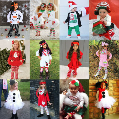US Stock Toddler Kids Baby Girls Christmas Halloween Tops Pa