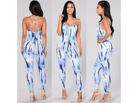 £15 Bodycon Pastel Tie-Dye Trousers Long Jumpsuit S M L XL 8-16 NEW