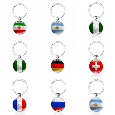 National Flag Football Keychains Pendant Key Chain Keyring Ring Car Hanging