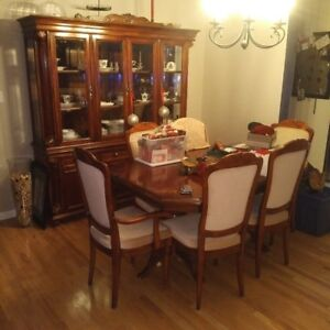 Cherrry wood table hutch chairs