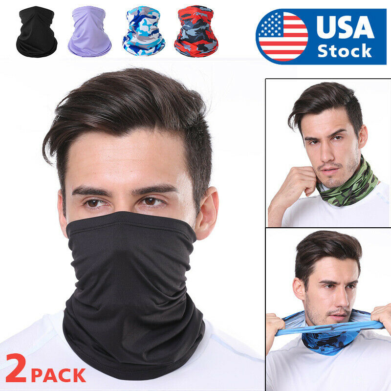 2pcs Face Mask Balaclava Neck Gaiter Biker Tube Bandana Fishing Face Mask Clothing, Shoes & Accessories