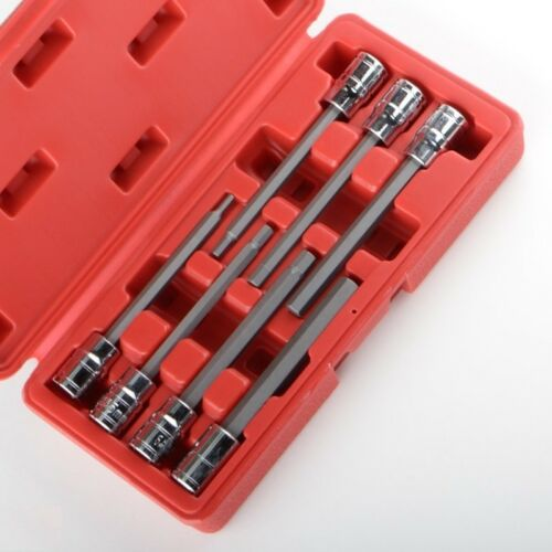 3/8 7pc Metric Extra Long Hex Allen Bit Socket Set with Case
