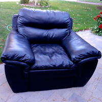 3 piece black leather couch, love seat and chair set
