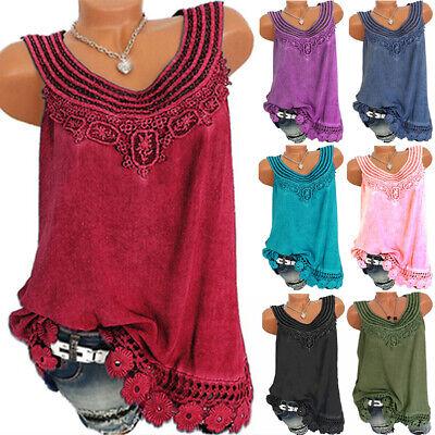 Womens Summer Sleeveless T Shirt Vest Lace Casual Loose Boho Tank Tops Blouse US Sleeveless Womens Top