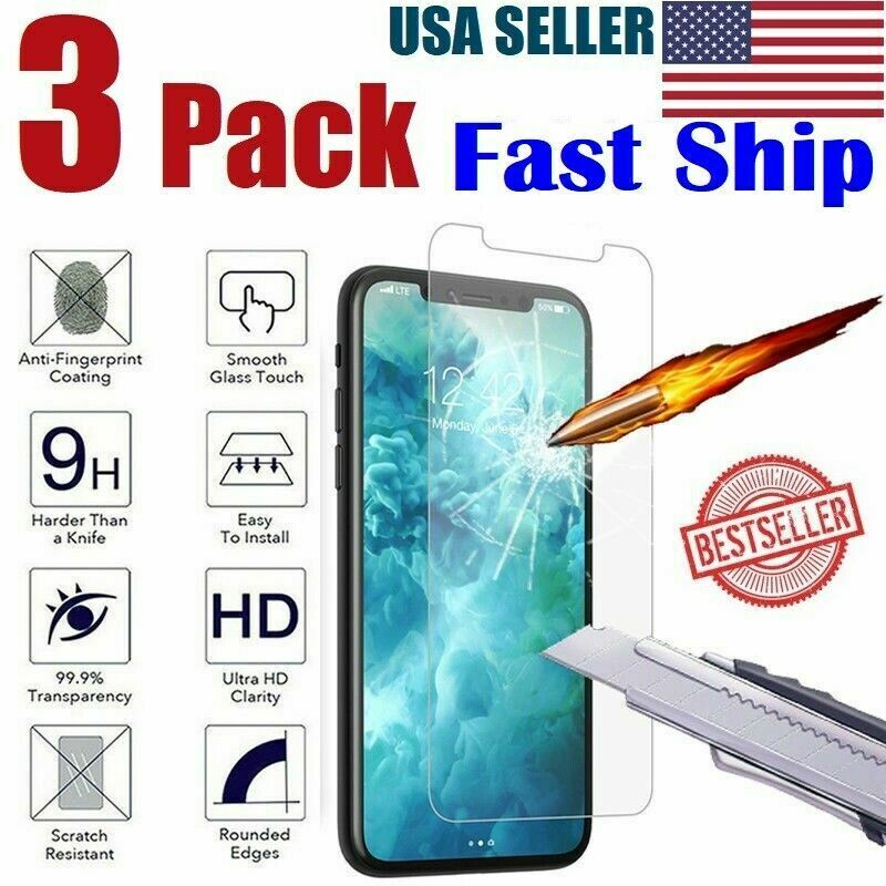 3-Pack iPhone 6 / 7 / 8 Plus Tempered GLASS Screen Protector Bubble Free 11 X XS Cell Phone Accessories