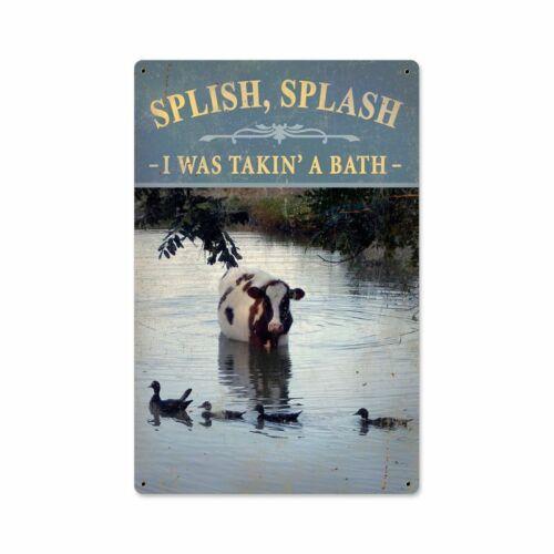 SPLISH SPLASH I WAS TAKING A BATH COW HEAVY DUTY USA MADE METAL BATHROOM SIGN