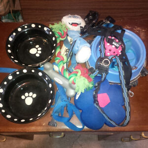 DOG BOWLS - HARNESSES - COLLARS - LEASHES & TOYS
