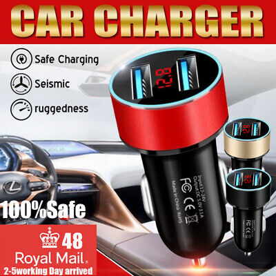 Fast 2 Dual Usb Car Charger Power Cigarette Lighter Adapter Display Socket