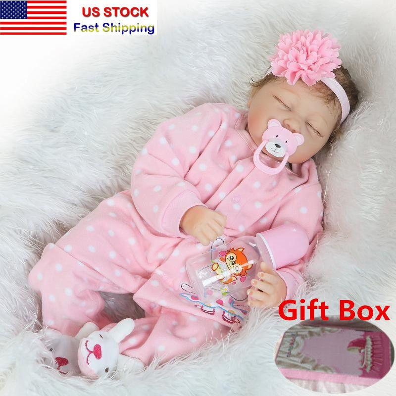 22'' Handmade Lifelike Baby Girl Silicone Vinyl Reborn Doll Newborn Gift Toy US