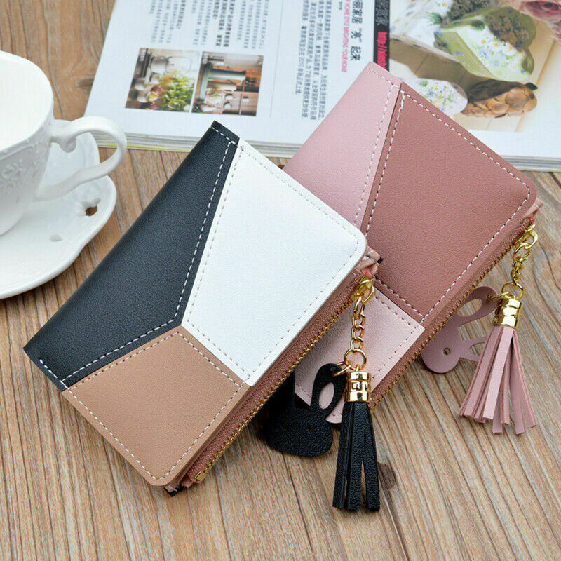 Cute Women Splicing Block Small Wallet Coin Case Leather Simple Bifold Purse Bag Clothing, Shoes & Accessories