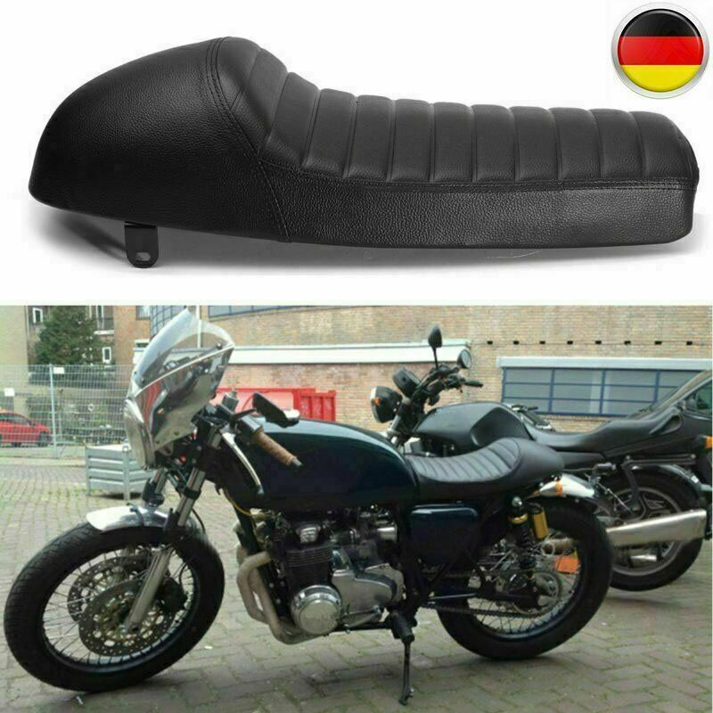 S KIMISS Motorrad Powersports Sitze PU Leder Vintage Cafe Racer Sitz Flachsattelkissen f/ür CG125 GN CG CB400SS