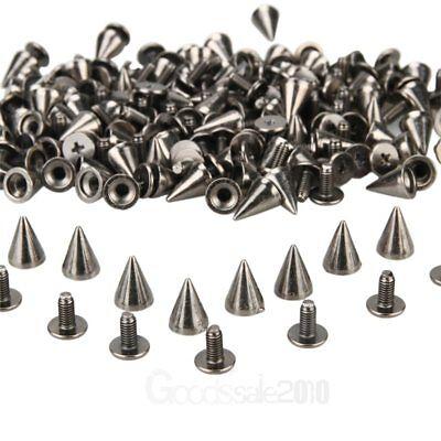 100X  DIY Punk Rock BlackSilver Tone Cone Studs Spikes For Shoes Bags Decoration](Punk Rock Decor)