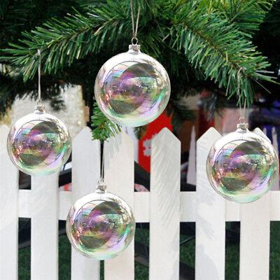 6/8/10cm Glas Kugeln Irisierend Weihnachtsschmuck Hänger Weihnachten Ornament DE