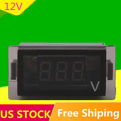 New 3 Digit Blue Led 12v Rectangle Digital Voltmeter Car Marine Rv Audio Suv Max