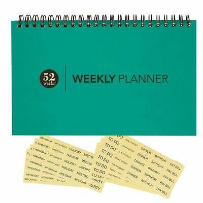 Undated Blank Desk Weekly Calendar Planner With Reminder Stickers Teal Blue