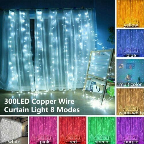 300 LED String Fairy Curtain Light 8 Modes Waterproof Christ