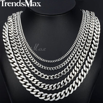 Jewelry - 18-36'' MENS Stainless Steel 3/5/7/9/11mm Silver Tone Cuban Curb Chain Necklace